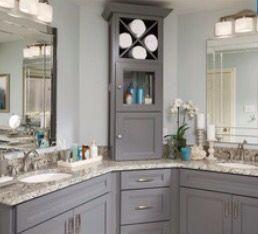 Love The Tall Counter Top Cabinet Topluxurybathrooms Corner Bathroom Vanity Double Sink Bathroom Vanity Luxury Bathroom