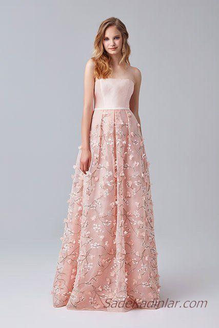 2019 Abiye Elbise Modelleri Pudra Uzun Omzu Acik Tul Etek Cicek Islemeli Elbise Elbise Modelleri The Dress