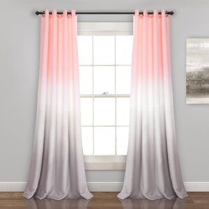 Hashtag Home Monte Ombre Room Darkening Thermal Grommet Curtain Panels Wayfair Pink And Grey Room Girls Bedroom Curtains Pink Room