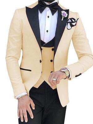 Light Beige Men Vest Waistcoat Suit Tuxedo and Straight Cut Bow Tie Set  Wedding
