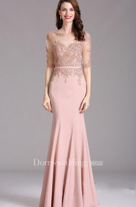 Sheath Bateau Half Sleeve Jersey Appliques Illusion Dress - Dorris Wedding