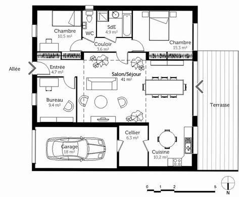36 Plan Maison 90m2 Avec Garage En 2020 Avec Images Plan