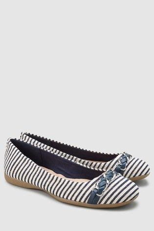 a9424f7143e9b Womens Next Navy Stripe Forever Comfort Chain Ballerinas - Blue in ...
