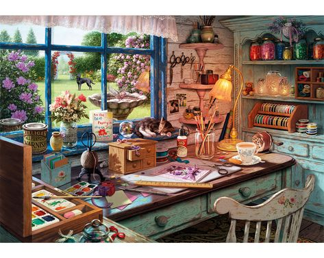 Grandma's Craft Shed by Buffalo Games is a splendid 2000 piece jigsaw puzzle. This Puzzle features images both inside and out of the craft shed! 2000 Piece Puzzle, Puzzle Pieces, 1000 Piece Jigsaw Puzzles, Grandma Crafts, Craft Shed, Buffalo Games, Puzzle Art, Illustration Art, Oil Paintings