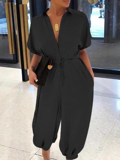 Stylish short sleeve  high waist loose wide leg girdle plain jumpsuits