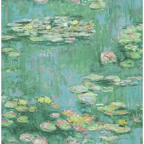 Sample Lily Pads Wallpaper in Green, Blue, and Pink from the French Impressionist Collection by Seabrook Wallcoverings