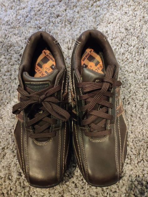 SKECHERS DIAMETER BLAKE Oxford Men's Leather Shoes Brown, Size 9, See Pics !!!