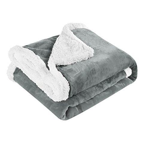 Langria Luxury Sherpa Flannel Fleece Reversible Blanket L Side