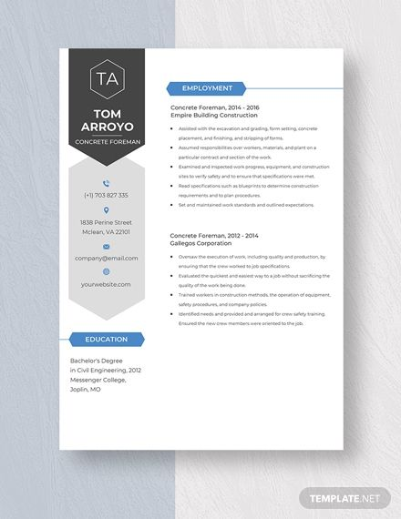 Concrete Foreman Resume In 2020 Resume Template Resume Templates