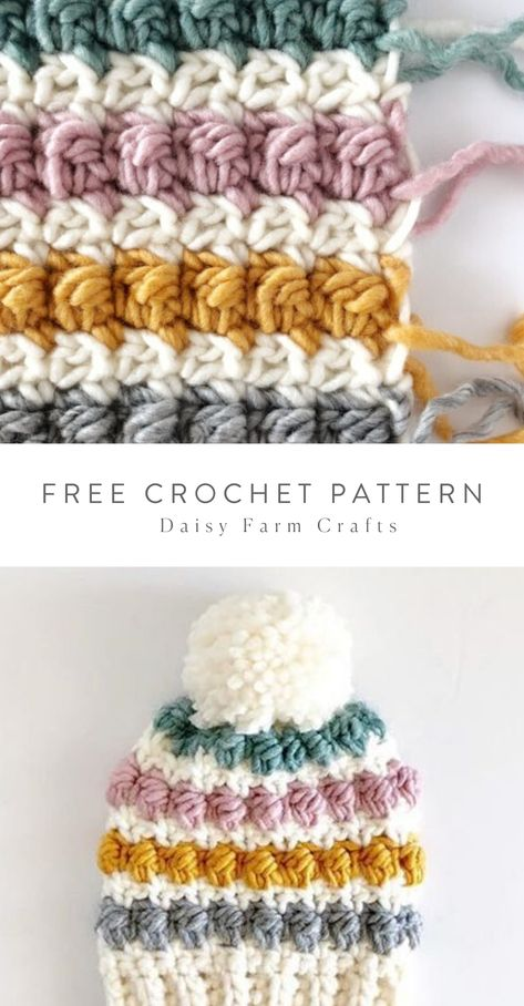 crochet hat patterns This is a free pattern for a crochet even berry stitch baby hat. The baby hat is worked in a spiral after you join the band with a tapestry needle and make an Crochet Crafts, Easy Crochet, Free Crochet, Knit Crochet, Hat Crafts, Chunky Crochet, Crochet Baby Hat Patterns, Crochet Stitches, Knitting Patterns