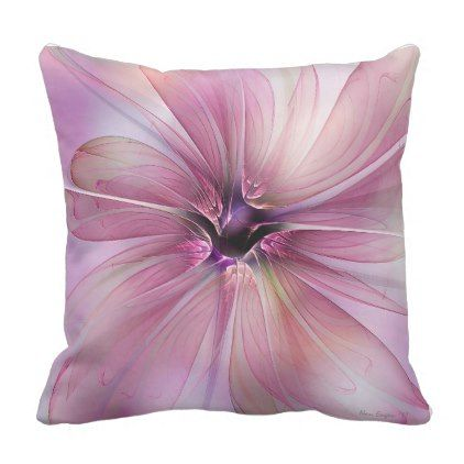 Delicate Translucent Pink Flower Throw Pillow Home Gifts Ideas Decor Special Unique Custom Individual Cu Flower Throw Pillows Pink Flowers Original Gifts Diy