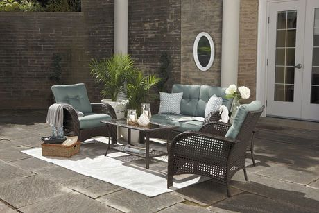hometrends Tuscany 4-Piece Cushioned Wicker Conversation Set - Blue |  Walmart.ca | *Patio Furniture* | Pinterest | Tuscany and Outdoor living - Hometrends Tuscany 4-Piece Cushioned Wicker Conversation Set