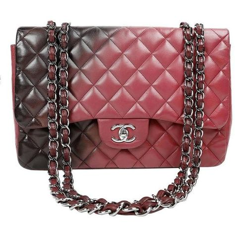 886632afb7697a Preowned Chanel Bordeaux Degrade Jumbo Classic Flap Bag ($5,200) ❤ liked on Polyvore  featuring bags, handbags, brown, burgundy leather purse, ...