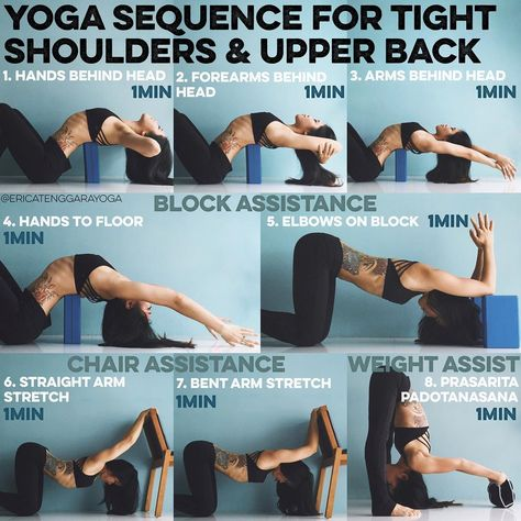 YOGA SEQUENCE FOR TIGHT SHOULDERS & UPPER BACK  A lot of you asked for a sequence for the back and shoulders so here is one with props - BLOCK ASSIST Lie on floor, legs bent or straight is up to you. Place a block on its skinny side horizontally under the shoulder blades. Think sports bra location. You can change the block height in accordance to your body but overtime it will get easier to go higher 1. HANDS BEHIND HEAD  Interlace the fingers behind, keep the elbows wide, breathe through…