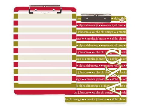 This is one of my all-time favorites... the acrylic clip board, now featuring Alpha Chi Omega letters and colors! Muah!! <3