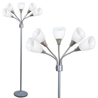 Decor Works 5 Light Floor Lamp With White Shades N A Silver