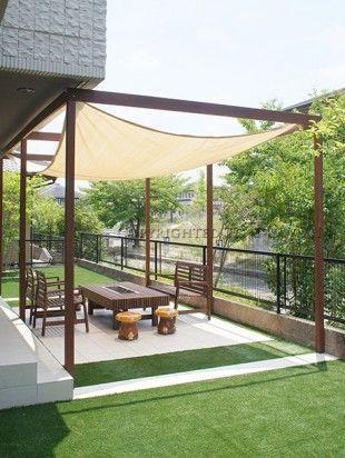 伊賀市 人工芝とbbqのできるお庭 東万 パーゴラとパティオ 庭 バーベキュー パーゴラ