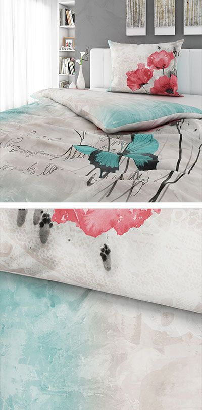 Bettwasche Beige Mit Hellrotem Und Turkisem Muster 140x200