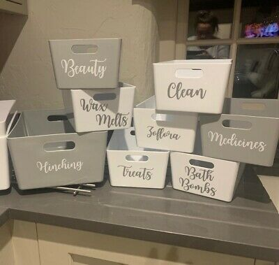 6 Personalised Label Name Sticker Decal Cleaning Storage Kitchen Hinch Set Vinyl