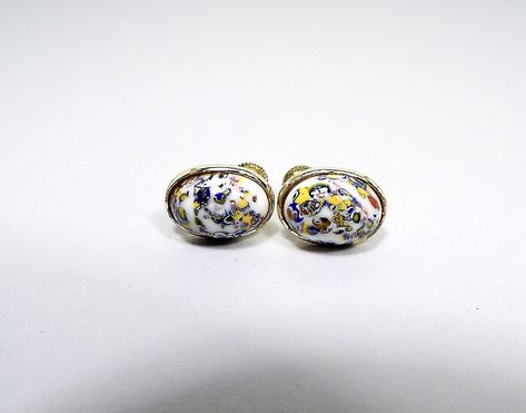 0c2fd6975 Longcraft Signed Vintage Screw Back Earrings, Multi Color Fancy Glass Cabs,  Gold Tone Oval, Mid Century 1960s 60s by SharkysWaters on Etsy