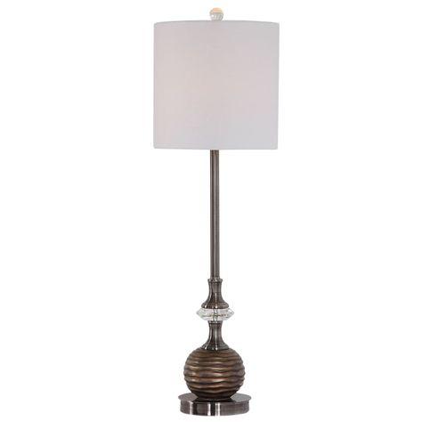 Delacora W26037 1 33 Tall Buffet Table Lamp Build Com In 2021 Metal Floor Lamps Bronze Lamp Crystal Table Lamps