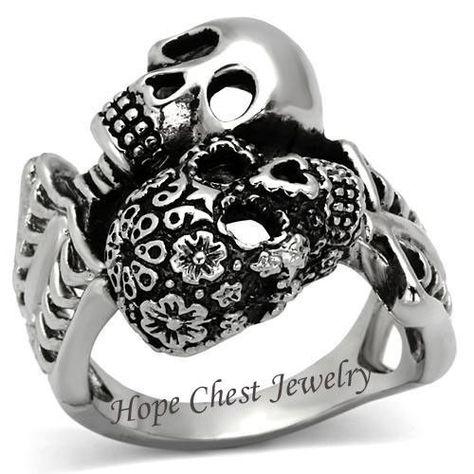 $14.99 - Stainless Steel Day Of The Dead Skull Skeleton Biker Men's Ring - Size 8 - 13 #ebay #Fashion