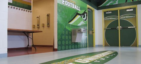 Custom designed and digitally printed wall murals, wall header graphics, locker end signs and adhesive floor decals.