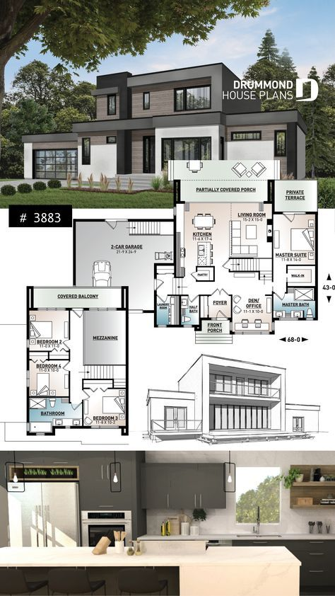 Discover The Plan 3883 Essex Which Will Please You For Its 4 Bedrooms And For Its Contemporary Styles House Construction Plan Model House Plan Sims House Plans