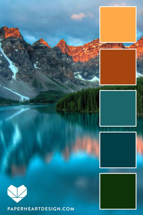 Mountain Sunset Inspired Color Palette - Earth Tones Six Sun Inspired Color Schemes, Nature Color Inspiration! Color Schemes Colour Palettes, Colour Pallette, Color Palate, Color Combos, Rust Color Schemes, Decorating Color Schemes, Sunset Color Palette, Sunrise Colors, Orange Color Palettes