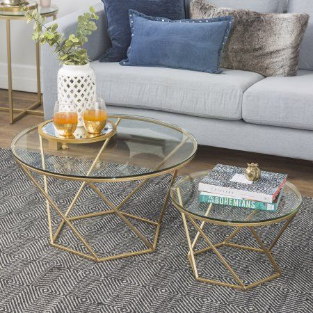 Eloise Geometric Glass And Gold Nesting End Tables By Ember Interiors Walmart Com Nesting Coffee Tables Gold Coffee Table Coffee Table