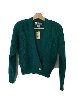 Wool Angora Long Sleeves Gold Color Buttons Size M Eighties Jumper 80s Vintage Cardigan Cozy Sweater Teal Color