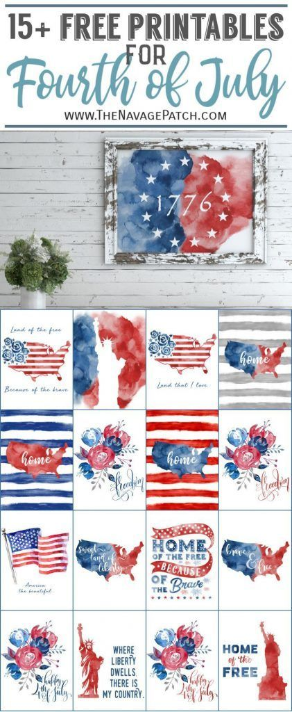 15 Watercolor Fourth Of July Printables Fourth Of July Decor 4th Of July Decorations July Crafts