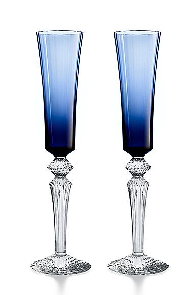 Baccarat Mille Nuits Flutissimo Blue Boxed Pair Baccarat
