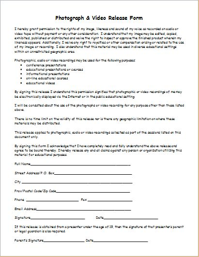 Photography And Video Release Form  Job Ap    Template