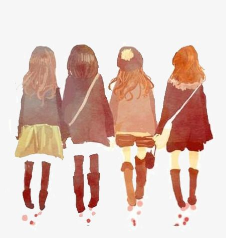 Four Girls Friendship Png And Psd Drawings Of Friends Bff Drawings Fashion Illustration