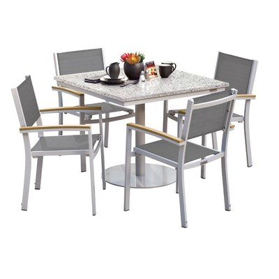 Sol 72 Outdoor Caspian 5 Piece Dining Set With Sling Seat Chairs