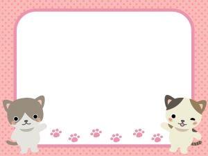 二匹のネコと水玉ピンクフレーム飾り枠イラスト 飾り枠 枠 イラスト 飾り