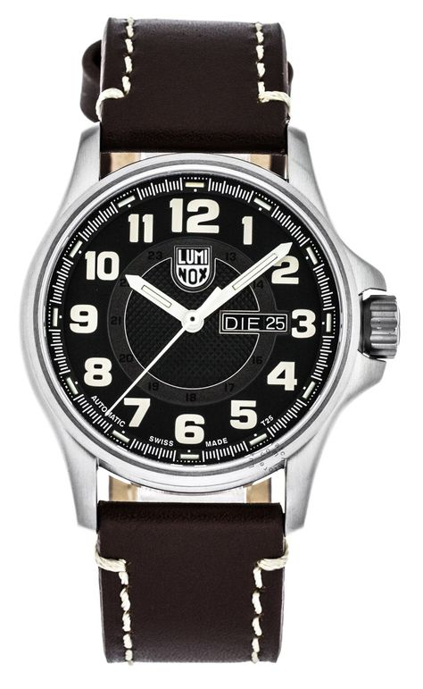 Luminox Automatic Day Date 43mm Stainless Steel Brown Leather Men's Watch XL.1801.NV - Title