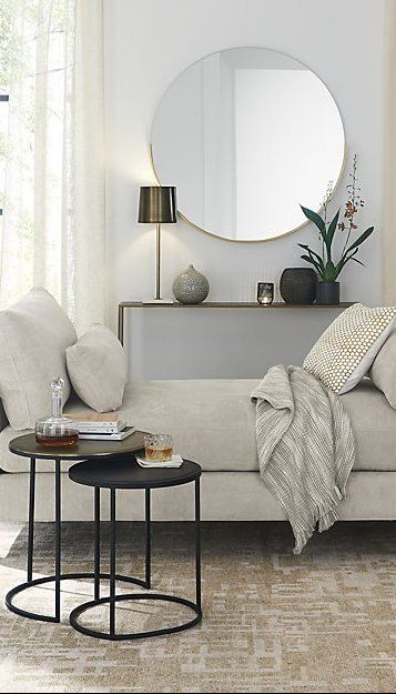 Gerald Large Round Gold Wall Mirror Reviews Crate And Barrel Types Of Sofas Nesting Accent Tables Upholstered Daybed
