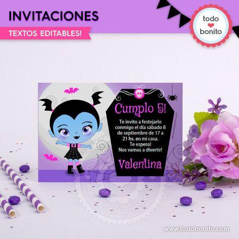 Invitaciones Para Imprimir Con La Temática De Vampirina