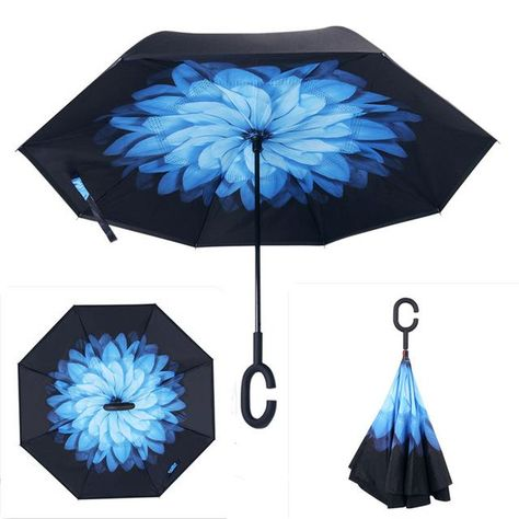 Double Layer Inverted Umbrella Self Stand Umbrellas Windproof Reverse Folding
