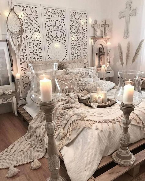 Another glamorous design for the boho style bedroom is presented here for you. The beauty of this room is no doubt touching the height of elegance. An outstanding renovation of the bedroom will make you feel royal at your own place. The delicate candle effects always raise the charm of bohemian style designs. #bohobedroom