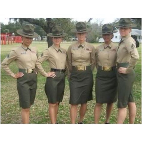 Female Marine drill instructors, the most intimidating female in the military, in all branches.