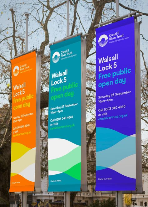 A new brand identity and logo for the Canal & River Trust, a charitable organisation that cares for and uses waterways across England & Wales to make life better for millions of people.