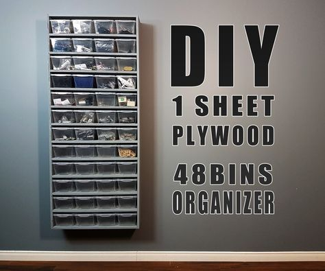 Diy Build One Sheet Plywood 48 Bins Organizer Small Woodworking Projects Plywood Projects Diy Woodworking