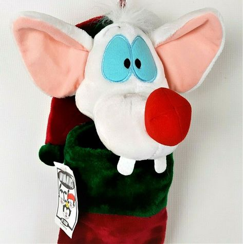 "WARNER BROTHERS ANIMANIACS 9/"" PINKY AND THE BRAIN CHRISTMAS PLUSH BEANIE"