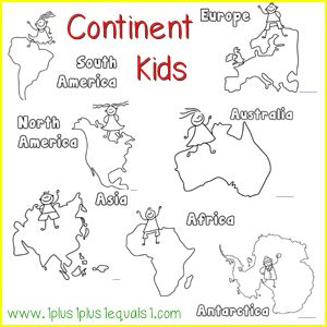 Continent Kids Free Printables World Geography Bilingual - Free continent maps