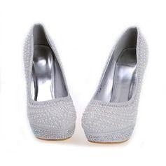 12d932f7740 Women s Leatherette Stiletto Heel Closed Toe Platform Pumps With Imitation  Pearl Rhinestone