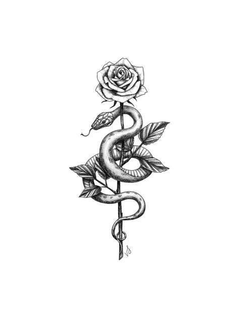 "Snake and Rose Sticker by vicink - White - 3""x3"""