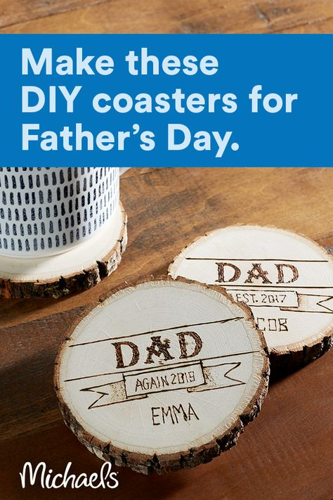 "Wood-Burned ""Dad Est."" Coasters"
